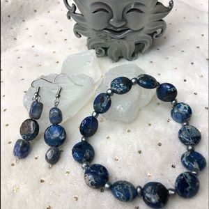 Silver and blue earrings and bracelet set